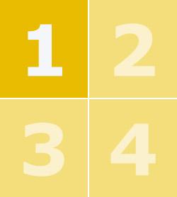 Цифры от 1 до 4 в желтых квадратах, цифра 1 выделена жирным шрифтом.
