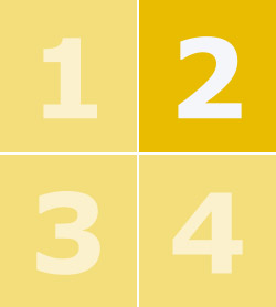 Цифры от 1 до 4 на фоне желтых квадратов, цифра 2 выделена жирным шрифтом.