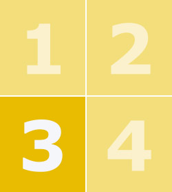 Цифры от 1 до 4 на фоне желтых квадратов, цифра 3 выделена жирным шрифтом.