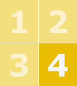 Цифры от 1 до 4 на фоне желтых квадратов, цифра 4 выделена жирным шрифтом.